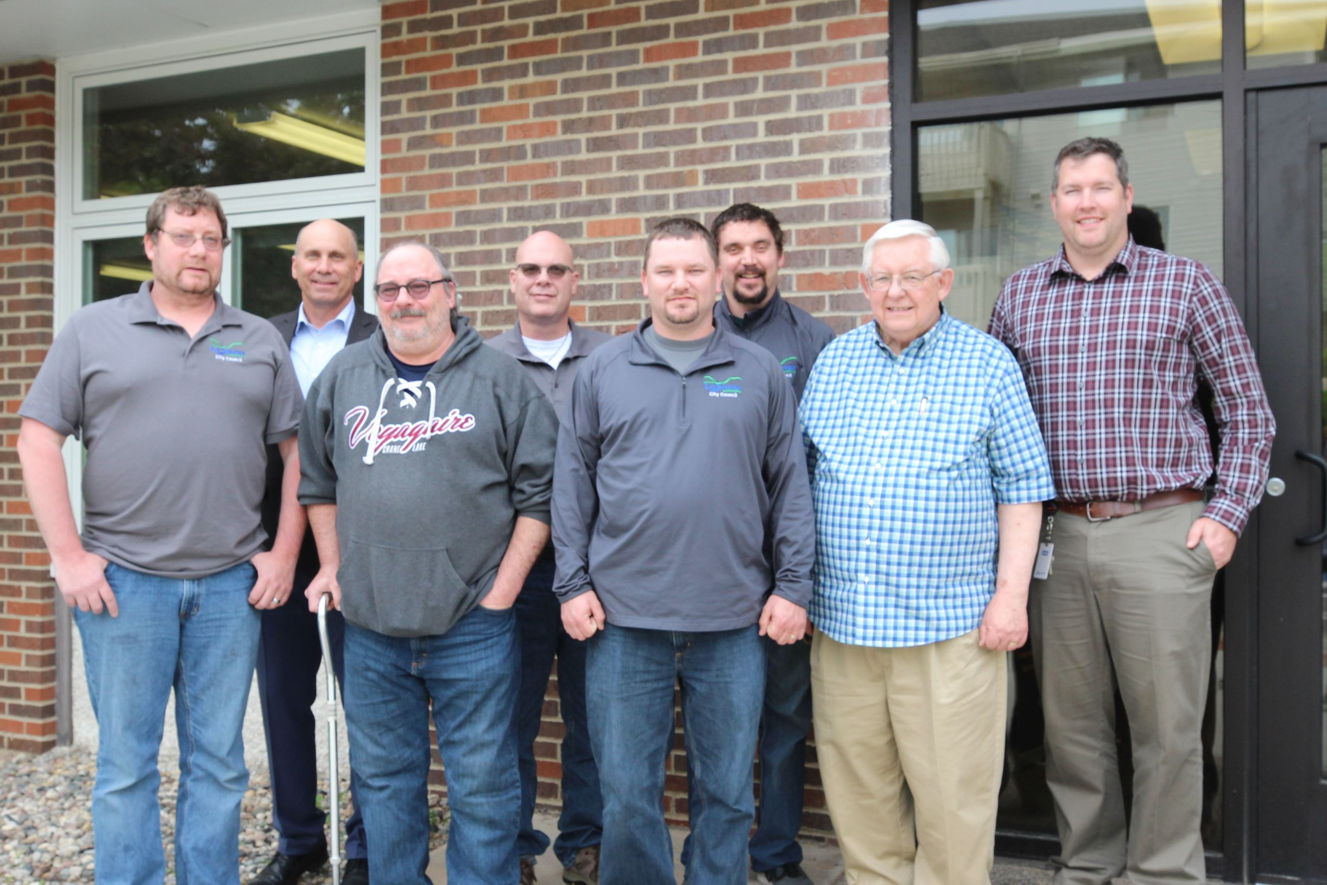 Le Sueur City Council Standing in Front of City Hall