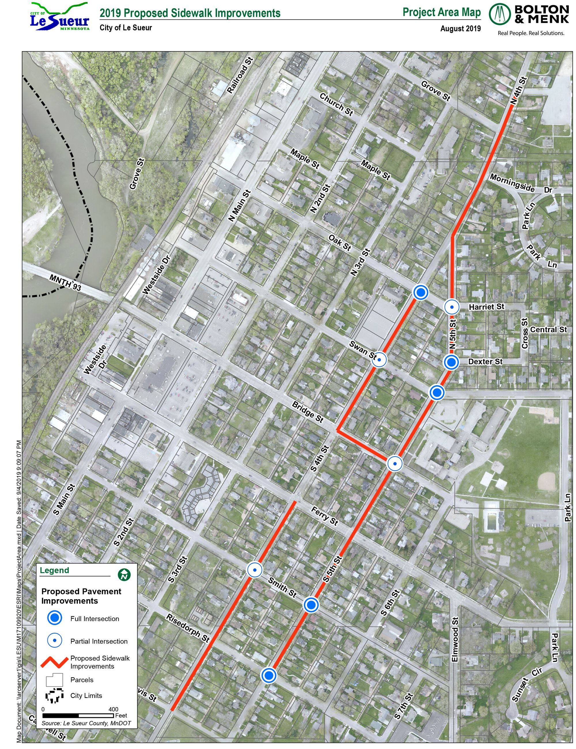 2019 Sidewalk Project Map